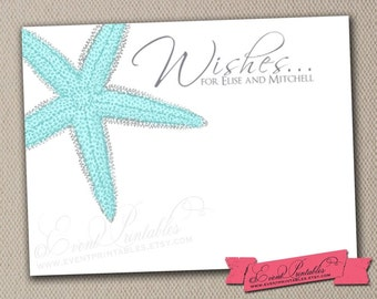 Wedding Guest Book Alternative Cards, Starfish Beach Wedding Wishes, DIY Printable Bridal Shower Nautical Advice Cards by Event Printables