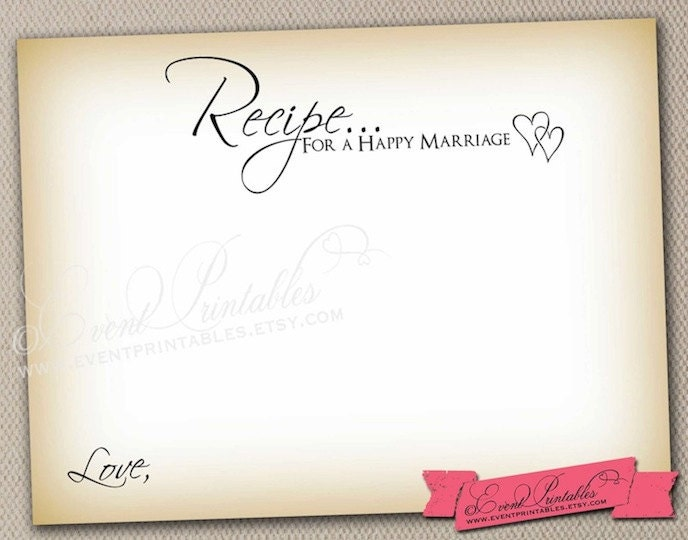 Items similar to Recipe for a Happy Marriage, Printable Vintage Wish ...