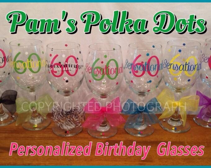 7 Personalized MILESTONE BIRTHDAY 20 oz. Wine GLASSES Finally 21 Forever 29 Flirty 30 Fabulous 40 Nifty 50 Sexy 60 Sensational 70