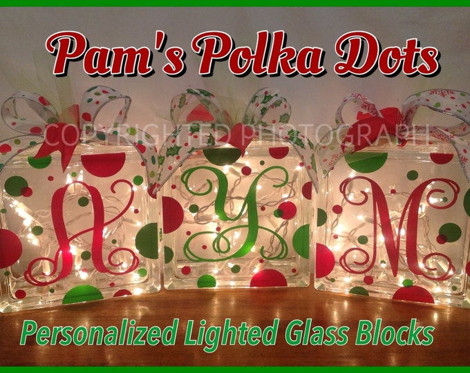 3 Personalized Lighted CHRISTMAS GLASS BLOCKS with Monogram Initial White Lights Polka Dots & Ribbon Holiday Decor Mantel Foyer Entryway