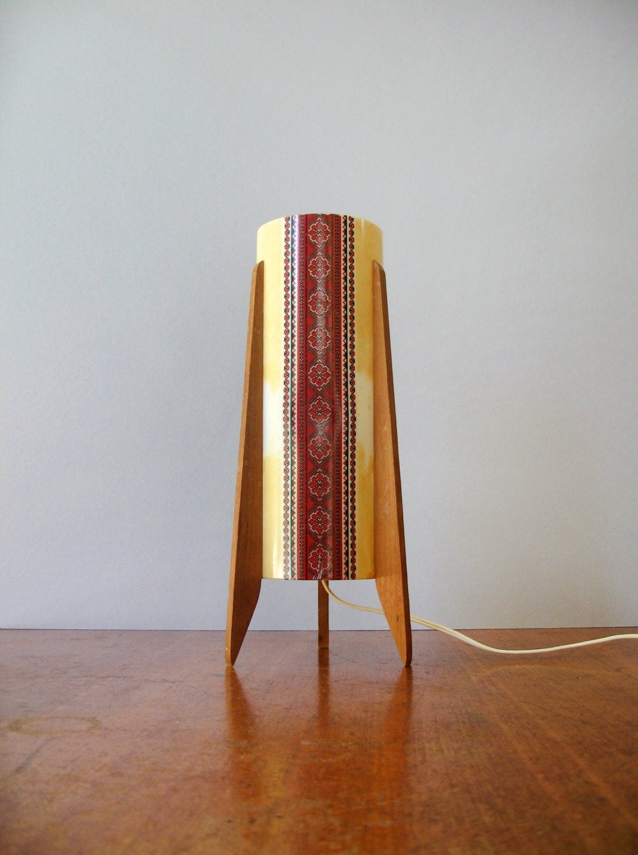 Mid Century Danish Modern Rocket Table Lamp Teak