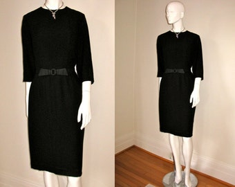 Vintage 1950s 1960s Black Dress w/Black Satin Bow Belt LBD