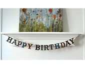 Hand Painted Happy Birthday Banner - Wood