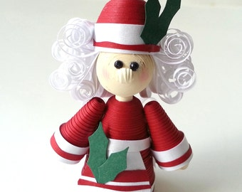 Mrs. Claus Christmas Ornament Paper Quilled in Crimson Red with Holly