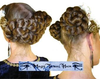 RENAISSANCE hair falls piece STEAMPUNK wig Belly Dance GOTH c u s t o m Ponytail Braid extensions 55 cm/ 22'' long Fantasy Tribal Fusion