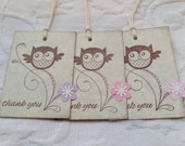 Set of 12 Baby Girl Owl Thank You Tags with Flowers - Baby Shower, Wedding Shower Favor Gift Tags