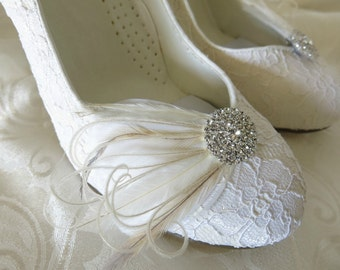 Bridal Feathered Feather Shoe Clips Rhinestone Accents White Ivory Set of 2