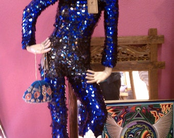 Sequined Bodysuit: Paillette sequins, Size S Adult deep scoop back