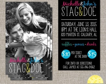 Stag and Doe / Jack and Jill Photo Tickets - 250 or 500 double sided tickets and digital poster by YellowBrickStudio