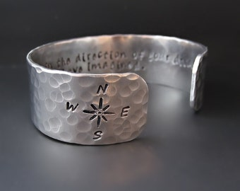 Direction of Your Dreams Silver Cuff Bracelet / Follow Your Dreams / Henry David Thoreau / Compass Bracelet / Compass Rose / Graduation Gift