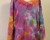 Tie-dyed sweater, upcycled ramie/cotton, with beads and embroidery