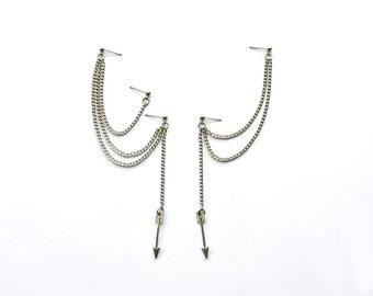 Dangling Silver Arrows Multipierce Cartilage Earrings