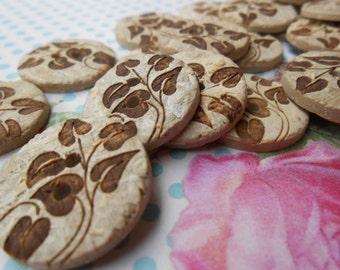 Natural Coconut Decorated Buttons 6pcs