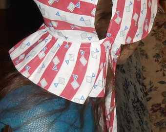 Sun bonnet, vintage or antique geometric fabric, 1930's maybe, unusual pattern, snaps and ties, red, white, gray and blue