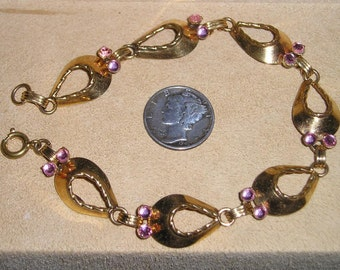 Vintage Gold Filled Bracelet With Pink Rhinestones 1940's Signed Jewelry 1002