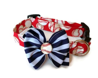 Red Baseball Dog Collar size Medium