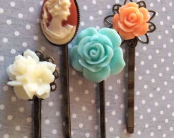 Flower Bobby Pins Hair Accessories Flower & Cameo