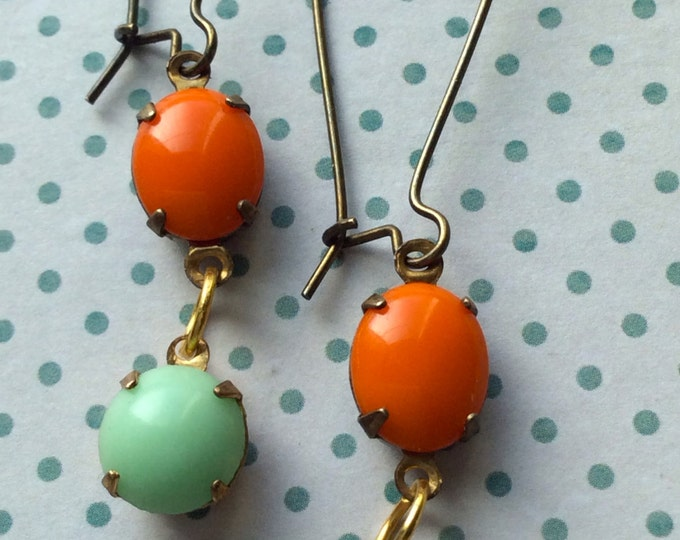 Jewelry Earrings Dangle Mint Green & Orange Genuine Vintage Inspired Swarovski Old Hollywood Glam