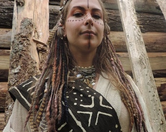 Earthy Brown & Black Clip In Dreads Dreadlocks Felted Dreadlock Autumn Pirate Gaia Festival Native Tribal Pixie Earth Hair Feathers Psy