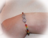 LGBTQ Infinity Bracelets Rainbow Beads Lesbian Wedding Gift Set