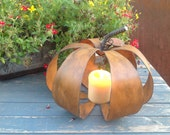 Pumpkin Candle Holder, Metal Pumpkin, Fall Decoration, Bronze Pumpkin, Rusty Pumpkin, solar light holder, mason jar solar light holder