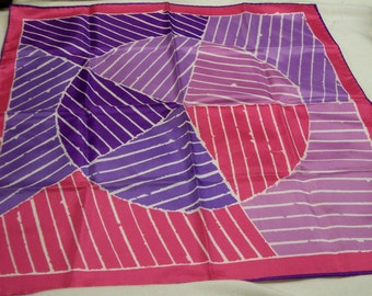 Vintage Vera  Newman Scarf,  FREE SHIPPING , Geometric Bold Bright Design,  Vintage 1970s , Pink and Purple , Signed Vera