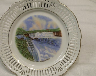 Souvenir Niagara Falls Plate Prospect Point Lattice edged Antique Bavarian China