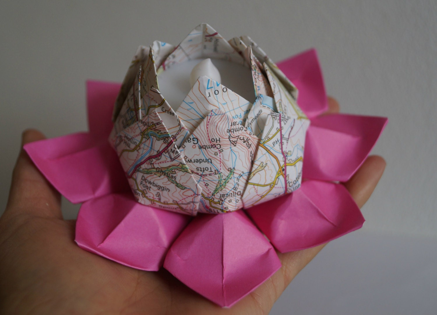 Hot pink Lotus tea light holder-Origami water lily-LED - photo#28
