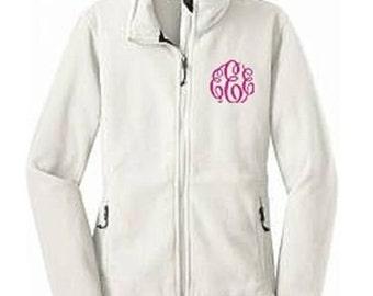 Monogrammed Fleece Jacket, Full Zip Fleece Jacket, Ladies Fleece Jacket, Monogram Jacket, Bridesmaid Jacket, Personalized Fleece Jacket