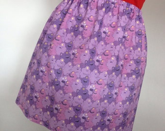 Lumpy Space Princess Mini Skirt - Adventure Time Skirt - High Waisted Ladies Skirt - Pink and Purple - Handmade and Ready to Ship