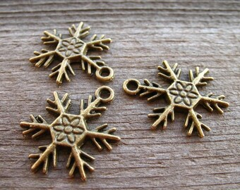 20 Bronze Snowflake Charms 25mm