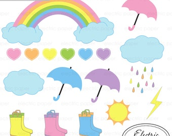 Rainbow Clipart - Rainy Day Clipart - Pastels - Pastel Rainbow Clouds Umbrella Rain Boots Girl Pastel  Instant Download