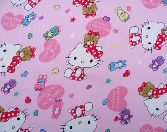 C717 - 1 meter Cotton Twill  Fabric - hello kitty