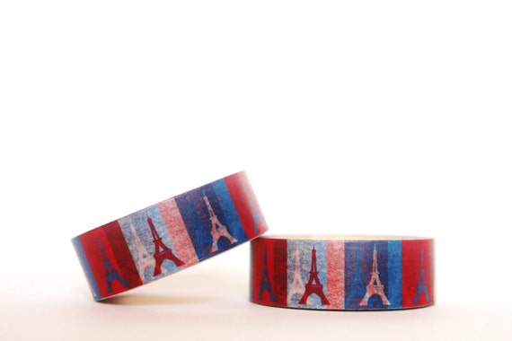 Blue and Red Eiffel Tower Washi Tape