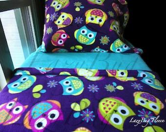 Girls Owls Toddler Fleece Bedding Set U0027Purple Owlsu0027 Handmade Fits Crib And  Toddler Beds