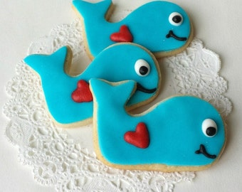 Whale with Heart Sugar Cookies - Valentine's Day - Mini Bites