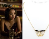 As seen on The Vampire Diaries Necklace Mystic Falls Black Swarovski Pearl and Gold Chain