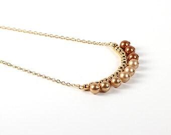 Pearl Necklace Swarovski Gold and Copper Fringe