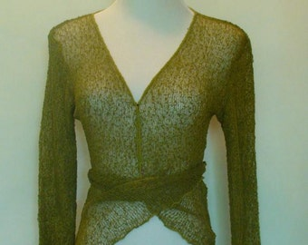 Knitted Bolero Jacket -Green with Ties