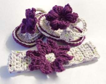 Crocheted Baby Flip Flops And Matching Headband Set- 100% Soft Cotton - Spring Summer Sandal Set- Violet - Spring Green - White