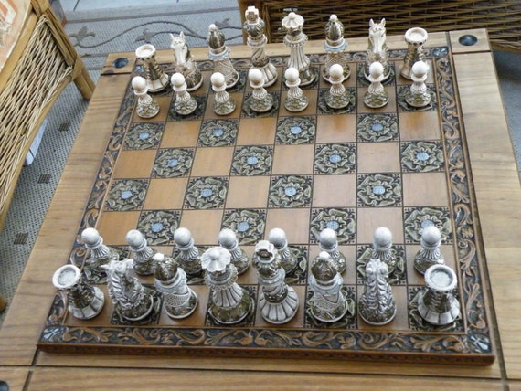Medium ornate chess set pieces board not by chessmouldsandmore - Ornate chess sets ...