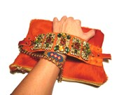 Luxury Jewelry Hair on Hide Clutch - orange and earth tones jewelry