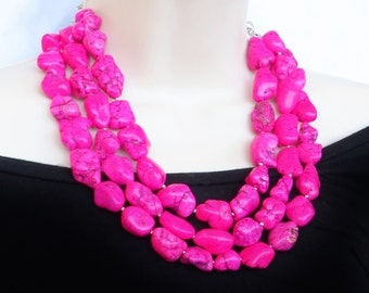Hot Pink Turquoise Nugget Statement Necklace - Fuchsia Pink Bridal Necklace - Hot Pink Necklace