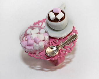 Hot chocolate and marshmallow ring - Kawaii ring - Food jewelry