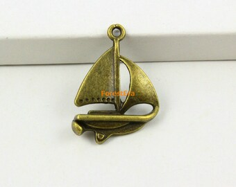 30Pcs Antique Brass Sailing Ship Charm Sailing Pendant 23x18mm (PND607)