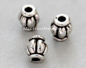 25 Antiqued SILVER 4x6mm Barrel Beads - Large 1.8mm Hole Tibetan Style Boho Rounded Nickel Free Beads - USA Wholesale - Instant Ship - 5534