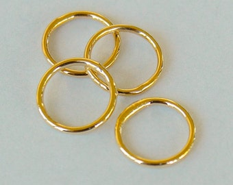 100 GOLD Closed 8mm Jumprings Connector - 18 gauge Round Gold Plated Brass Soldered Closed Jump Ring Links - Instant Ship from USA - 5483