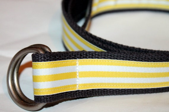items similar to yellow stripe belt grey belt 1 25 quot wide