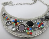 SALE Multicolor Rhinestone Flower Statement  Necklace, Multi Color Flower Bib Necklace ,Colorful Rhinestone Bib, Vintage Bib Necklace