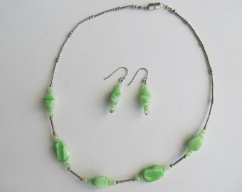 Set of Handmade Necklace and Earrings, Silver with Green Vintage Beads